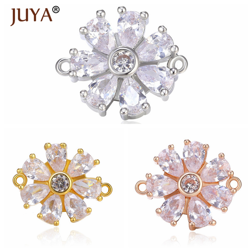 Supplies For Jewelry Diy Earrings Findings Bracelets Necklaces Jewellery Making Luxury Zircon Crystal Flower Connectors Charms