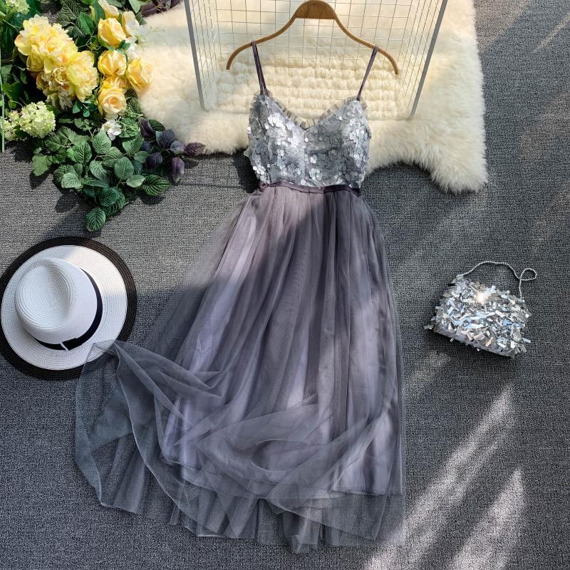 V-Neck Sequins Backless Sleeveless A-line Dress 7