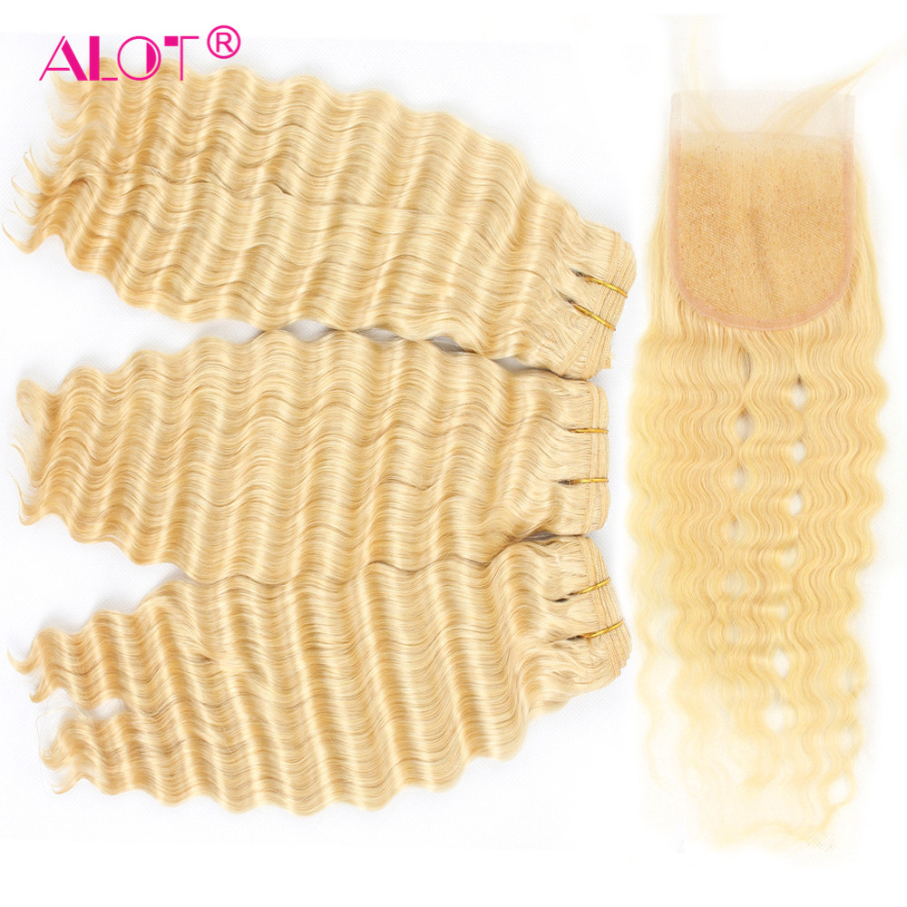 Alot 613 Burmese Honey Blonde Deep Wave Hair Bundles With closure Non Remy Hair Extensions With Closure 3 Bundles with Closure image