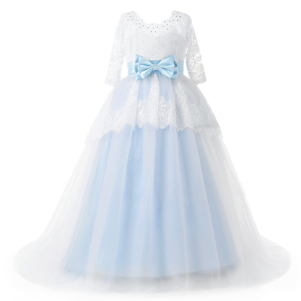 Light blue flower girl dresses with sash half sleeves 2018 appliqued light blue flower girl dresses with sash half sleeves 2018 appliqued pageant dresses for girls lace communion princess dress in flower girl dresses from izmirmasajfo