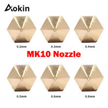 1pcs Mk10 Nozzle For 3d Printer M7 Thread Brass 0.2/0.3/0.4/0.5/0.6/0.8/1.0mm 1.75mm Filament For Mk10 Extruder(China)