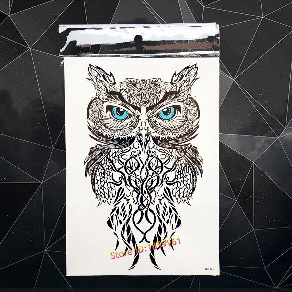 Blue Henna Tattoo: HOT Blue Eyes Wise Henna Owl Temporary Tattoo Stickers
