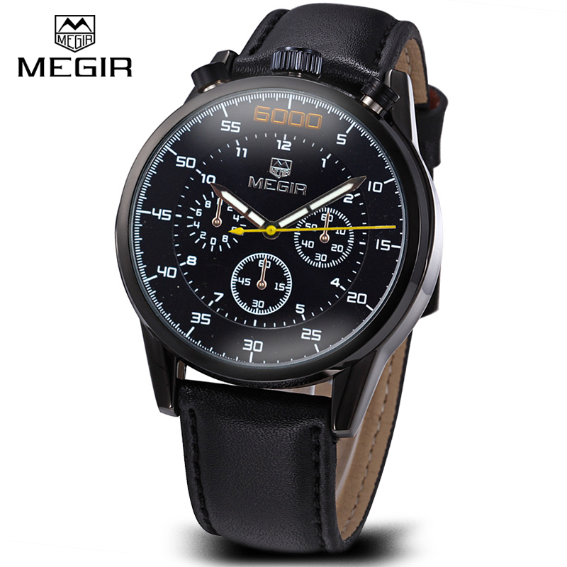 Megir Genuine Leather Mens Designer Watches Luxury Watch Men Chronograph Sports Watch Male Clock Casual Wristwatch Reloj Hombre