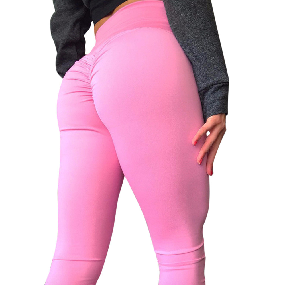 Women's Fashion Summer Workout   Leggings   Fitness Sports Running High Waist Solid Candy Colors Push Up Skinny Leggins Plus Size