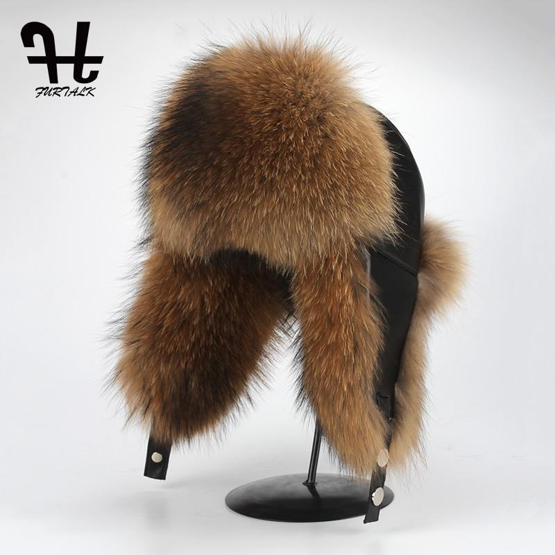FURTALK Men Winter Hat Leather Fox Fur Dad Hat Aviator Russian Ushanka Fur Hat Trooper Hat