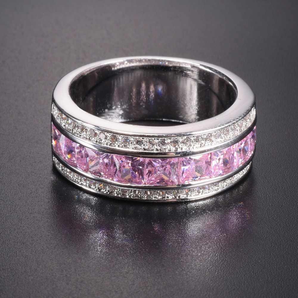 Wanita 'S Deluxe 10 Berlapis Emas Putih Pink Disimulasikan Diamond Garnet Crystal Batu Cincin Pernikahan untuk Wanita Jewlry ukuran 5-10