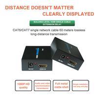 HDMI Extender 60 M HDMI a RJ45 Cable de red individual HD 1080P amplificación de señal Extender Ethernet puerto HDMI extensión de red
