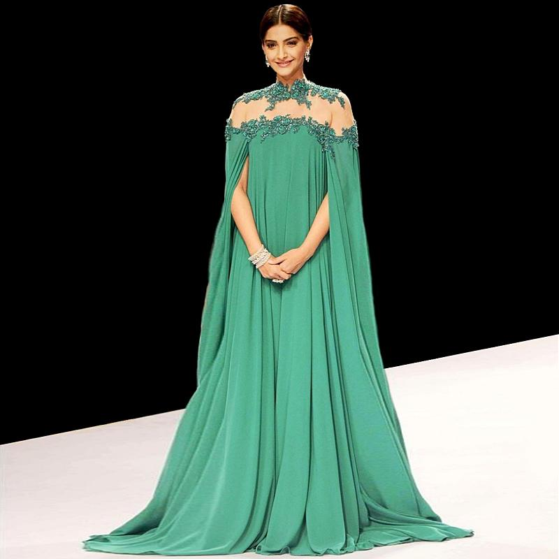 2016 Gorgeous Green Sonam Kapoor Long Sleeve Evening -9621