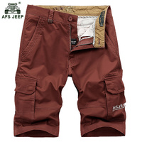 AFS JEEP New High Quality Loose Beach Men Brand Casual Shorts Male Summer Cotton Multi Pocket