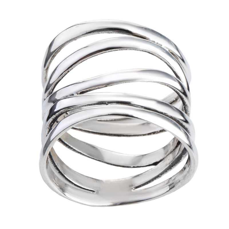 OMHXZJ ขายส่งยุโรปผู้หญิงผู้หญิงแฟชั่นผู้หญิงงานแต่งงานของขวัญเงินห้าวงกลม Hollow แหวนเงิน 925 RR206