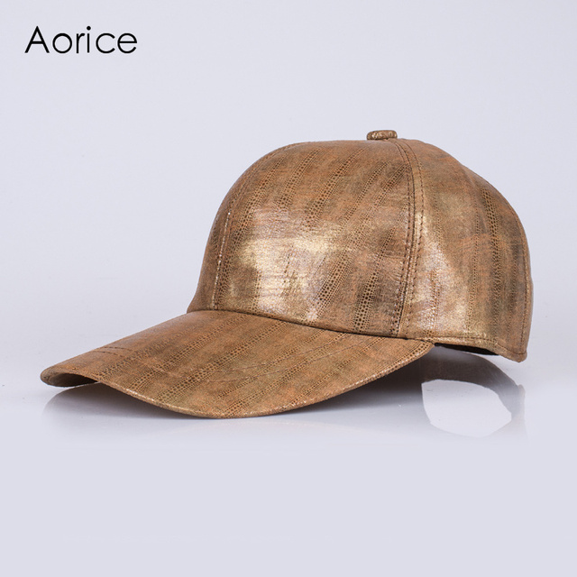 HL123-5  genuine leather baseball cap/hat brand new real  sheepskin leather adjustable caps/hats with golden colors