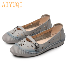 AIYUQI 2019 Womens sandals,  Fashion Genuine Leather Woman Mary Jane Flats Comfortable Casual Ballerinas Shoes