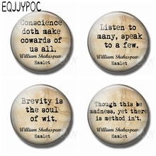 William Shakespeare Letters Crystal Magnet Fridge Notes Vintage Quote 30MM Round Glass Magnetic Refrigerator Message Stickers