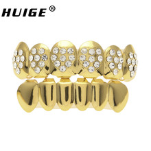 Hip Hop Rose Gold Color Heart Top Teeth Grills Six Teeth Iced Out Simulated Diamonds Bottom Grills Gold  Color Grills Set