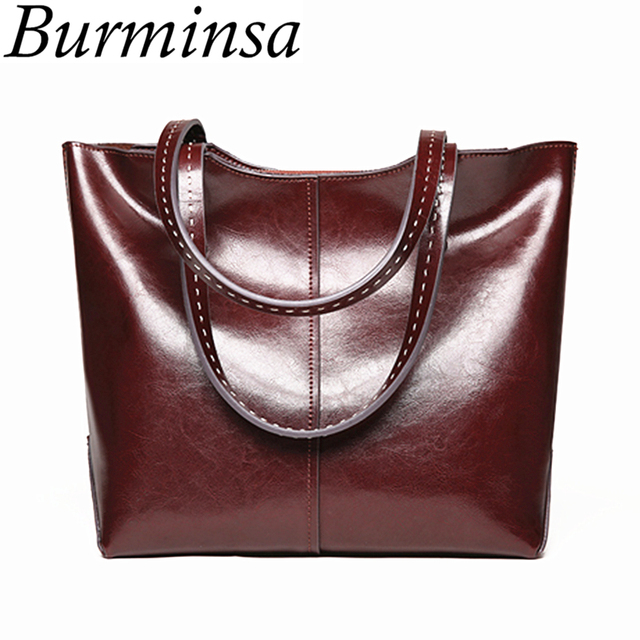 197dc5c2635e Burminsa Large Capacity Women Genuine Leather Handbags Retro Oil Wax Tote  Shopping Bag Big Female Shoulder Bags New Arrival 2018