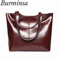 Burminsa Large Capacity Women Genuine Leather Handbags Retro Oil Wax Tote Shopping Bag Big Female Shoulder Bags New Arrival 2018