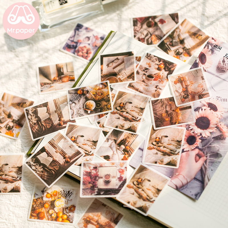 Mr.paper 40pcs/pack 8 Designs Bullet Journal Stickers Scrapbooking Memory Colours Series DIY Decoration Diary Stationery Sticker
