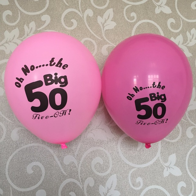12CT Hot Pink Fuchsia 50 Latex Balloons Female Mother Happy Age 50th Fifty Birthday Party Decoration