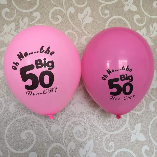 Online Shop 12CT Hot Pink Fuchsia 50 Latex Balloons Female Mother Happy Age 50th Fifty Birthday Party Decoration Supplies