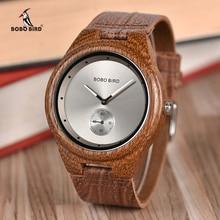 Bobo pássaro relógios de madeira das mulheres dos homens relógios de luxo pulseira de couro relógio de quartzo na caixa de madeira relogio masculino w * q24