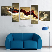 Large 5 Piece Set Modern Abstract Naked Girl Body Women Lady Nude Erotic Sexy Oil Painting On Canvas Wall Art Home Decoration