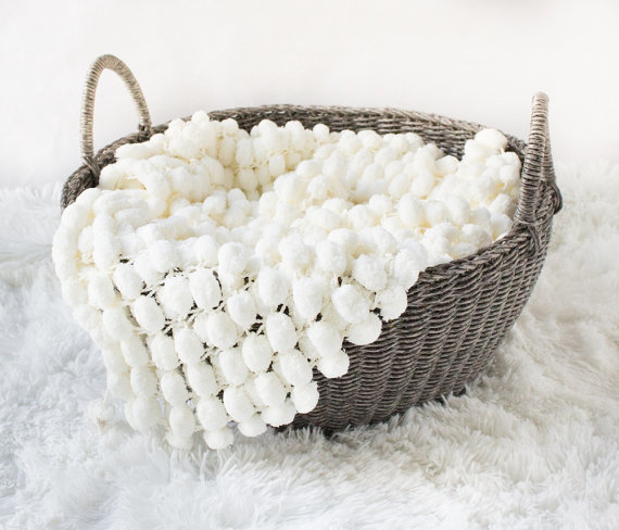 Mini blanket pom pom textured rug mat prop / Newborn Prop Popcorn Photo Blanket Newborn Prop Rug Blanket Bucket Basket Liner