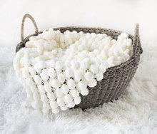 Mini blanket pom pom textured rug mat prop /  Newborn Prop Popcorn Photo Blanket Newborn Prop Rug Blanket Bucket Basket Liner