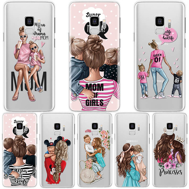 Soft Cases For Samsung Galaxy S8 S9 S10 S6 S7 Edge Plus S4 S5 Mini Case For Samsung M10 M20 M30 Black Brown Hair Baby Mom Girl