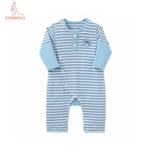 COBROO Baby Rompers Striped 100% Cotton O-Neck Long-Sleeve Boy Girl One-Pieces for 0-3-6-9-12-18 Months