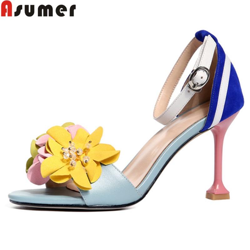 ASUMER rozmiar 34 40 nowe letnie sandały kwiaty prawdziwej skóry buty mieszane kolory super wysokie szpilki buty damskie sandały 2019 w Wysokie obcasy od Buty na  Grupa 1