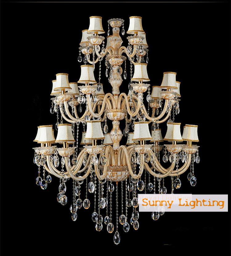Vanity 30 pcs Large church Chandelier Lighting hotel colored glass chandelier with shade E14 led modern home & garden Fixtures