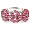 7# Pink Raspberry Rhodolite Garnet SheCrown Engagement Created Silver Ring 23x12mm