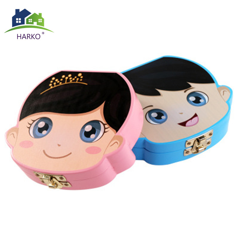 New BabyTeeth Box Wooden Milk Teeth Organizer Storage Boys Girls Save Souvenir Case Creative Baby Tooth Organizer  For Kids(China)