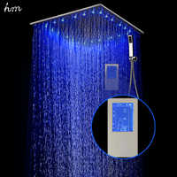 Ensemble de douche de pluie à affichage numérique Intelligent hm LED Instal dans le mur 2 Jets LED mélangeur thermostatique à panneau tactile de 24
