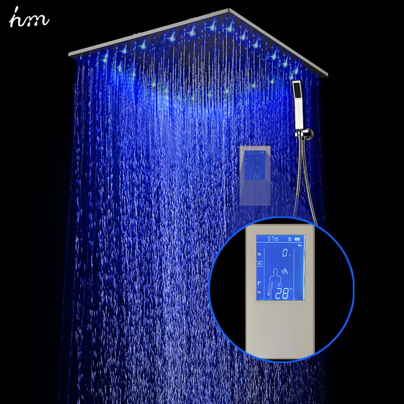hm Intelligent Digital Display Rain Shower Set Installed in wall 2 Jets LED 24 Rainfall Thermostatic Touch Panel Mixer