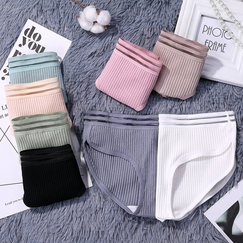 Women's Cotton   Panties   Female Striped Breathable Briefs Sexy Lace Edge Underwear Women Cotton Crotch Lingerie Intimates