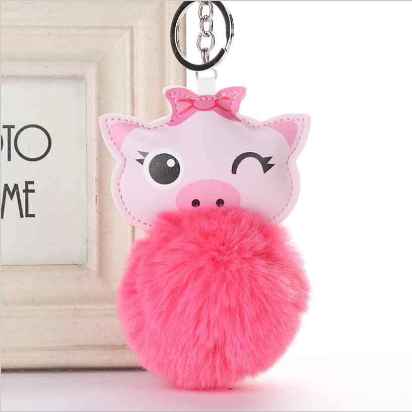 ... 2019 Cute Chaveiro pink Pig Keychain Pompom fur Key Chain Gifts for  Women girls Llaveros Mujer ... ade23b392e76