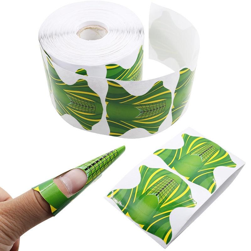 10 шт/рулон DIY квадратная форма клейкая Форма для ногтей акриловый/УФ гель для наращивания ногтей маникюрные инструменты для ногтей зеленого цвета Форма для ногтей      АлиЭкспресс