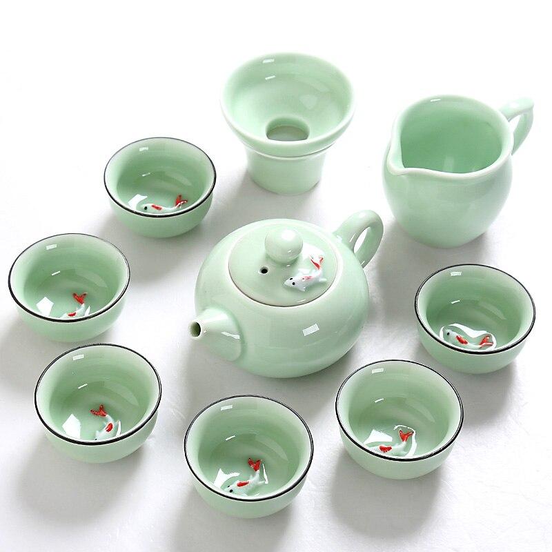 Longquan Celadon Ceramic Tea Set Fish Cup Kung Fu Teaset