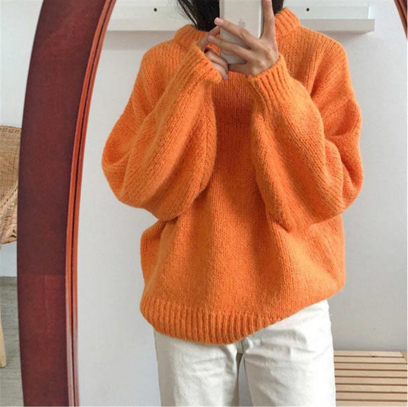 Women Fashion Sweater Female 2018 Autumn 7 Colors Warm Sweaters Long Sleeve Thick Knitted Pullover Jumpers Outside Wears Sweater