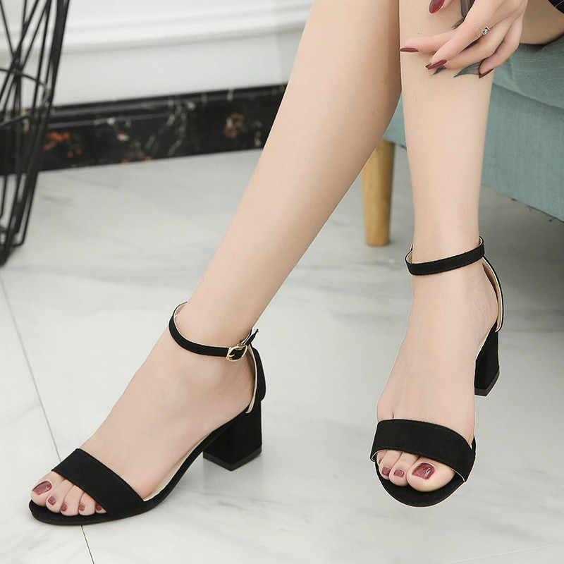 ae1578c8c5f ... 2019 Ankle Strap Heels Leopard Print Women Sandals Summer Shoes Women  Open Toe Chunky High Heels ...