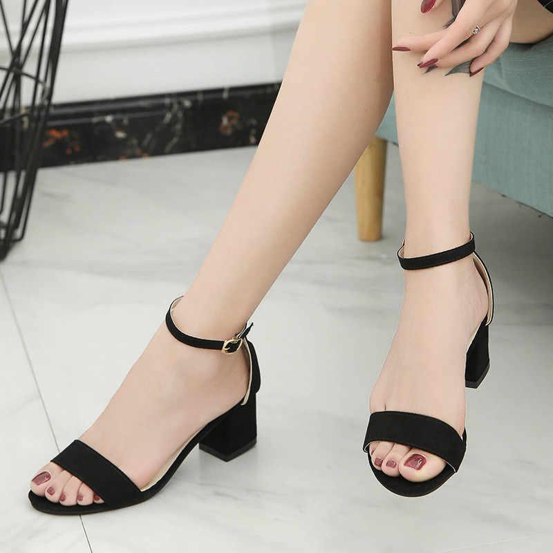 ... 2019 Ankle Strap Heels Leopard Print Women Sandals Summer Shoes Women  Open Toe Chunky High Heels ... 66f471cfa1dc