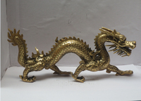 Long 11 inch Metal crafts Home Decoration Chinese Brass Carved Dragon Statue/Chinese dragon Sculpture fast Shipping