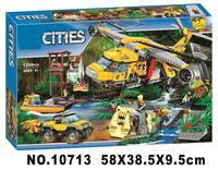 10713 1298PCS City Urban Jungle Air Drop Helicopter Building Blocks Bricks Compatible with legoings Toys 60162
