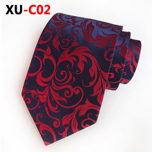 2018 New Silk Jacquard 8cm Wine Red Necktie Wedding Ceremony Official Mans Tie Accessories  Gifts for Men