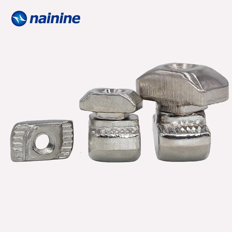 20/50Pcs 2020 3030 4040 M3 M4 M5 M6 Slot T-nut Sliding T Nut Hammer Drop In Fasten Connector Aluminum Extrusions HW109