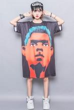 Fashion street three-dimensional digital print loose medium-long plus size one-piece dress oversize female