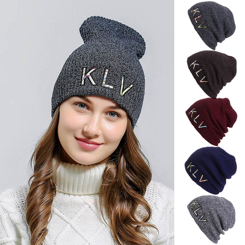 Embroidered Striped Hedging Cap Slouchy Thick Knitted Beanie Hat for Autumn Winter -MX8