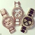 Promoção Genebra Relógio De Metal Mulheres Liga de Ouro Rhinestone Relógios Mulheres Por Atacado De Luxo Casual Vestido Relógio de Pulso