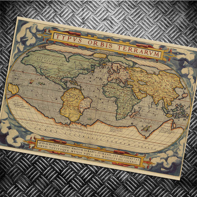 Classic world map wall sticker retro poster hanging drawing print classic world map wall sticker retro poster hanging drawing print painting classic poster walls paper bar gumiabroncs Choice Image